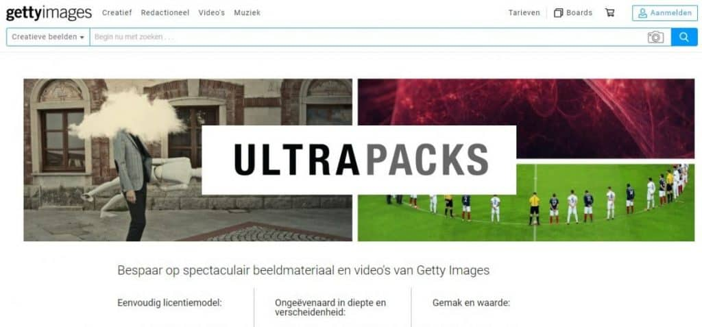 Getty Images kortingscode Ultrapacks
