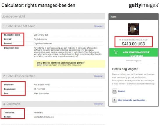 Getty Images Rights Managed calculator